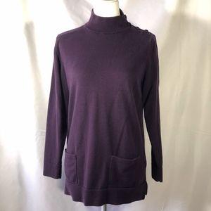 Purple Sweater Tunic w/ Pockets & Button Shoulder